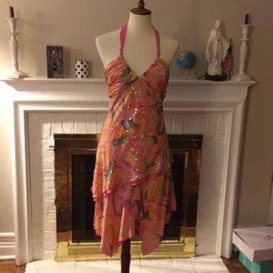 Bcbg maxazria silk sequins cocktail dress